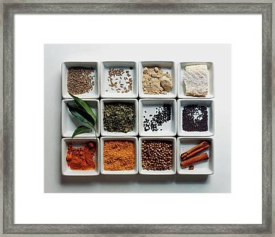 Dishes Of Spices Framed Print