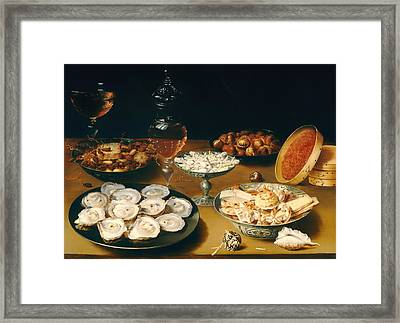 Dishes With Oysters Fruit And Wine Framed Print by Mountain Dreams