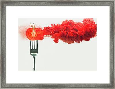 Disintegrated Tomato Framed Print by Dina Belenko Photography