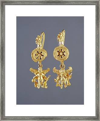 Disk Pendant Earrings With A Figure Of Eros Unknown Framed Print by Litz Collection