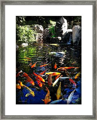 Disney Epcot Japanese Koi Pond Framed Print by Joan  Minchak