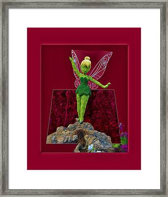 Disney Floral Tinker Bell 01 Framed Print by Thomas Woolworth