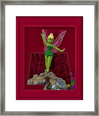 Disney Floral Tinker Bell 02 Framed Print by Thomas Woolworth