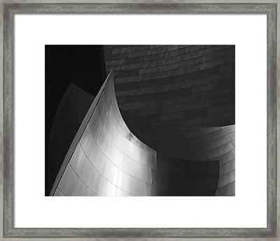 Disney Hall Abstract Black And White Framed Print by Rona Black