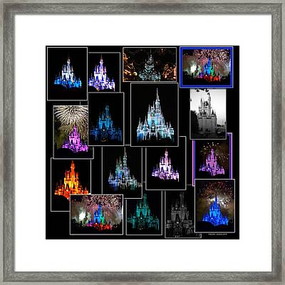 Disney Magic Kingdom Castle Collage Framed Print