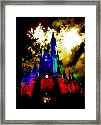 Disney Night Fireworks Framed Print