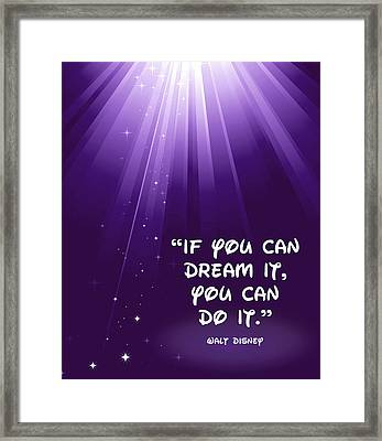 Framed Print featuring the digital art Disney's Dream It by Nancy Ingersoll