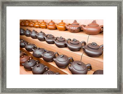 Display Of Chinese Teapots, Chinatown Framed Print