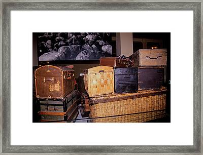 Display Of Old Trunks And Suitcases Framed Print