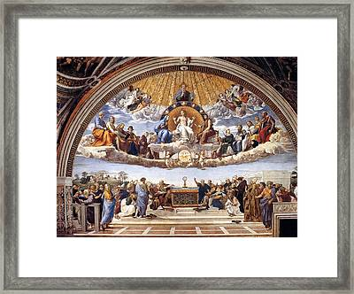 Disputation Of The Eucharist  Framed Print by Raphael