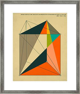 Dissection Of The Triangular Prism Into 3 Pyramids Of Equal Volume Framed Print by Jazzberry Blue