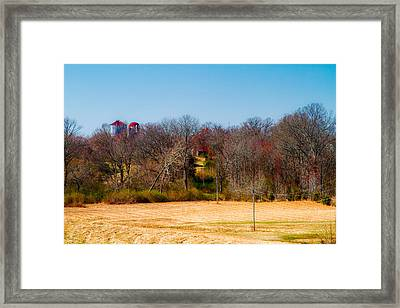 Distant Barns - Rural Art Framed Print by Barry Jones