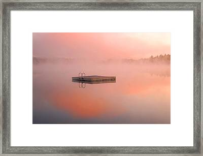 Distant Dock At Sunrise Framed Print