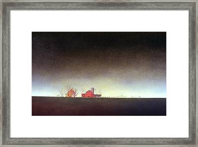 Framed Print featuring the painting Distant Farm by William Renzulli