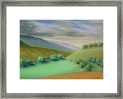 Framed Print featuring the painting Distant Hills by Jo Appleby