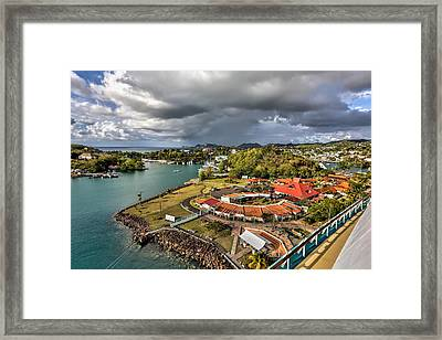 Distant Rain Near The Port In Castries St. Lucia Framed Print