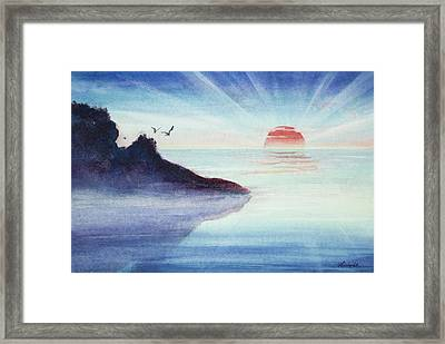 Distant Shoreline Sunrise Watercolor Painting Framed Print by Michelle Wiarda