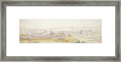 Distant View Of A Town With A Chateau Framed Print by Adam Frans van der Meulen