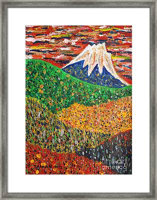 Distant View Of Mt. Fuji By Taikan Nishimoto Framed Print by Taikan Nishimoto