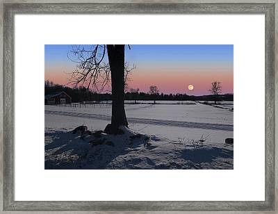 Framed Print featuring the photograph Distant Winter Moonrise by Larry Landolfi