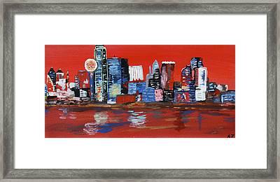 Distorted Dallas Skyline Framed Print by Austin James