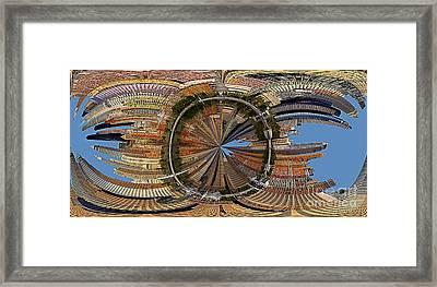 Distorted Lower Manhattan Framed Print by Susan Candelario