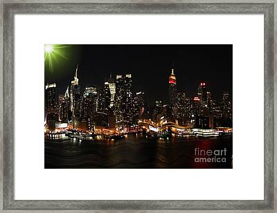 Distorted New York At Night Framed Print