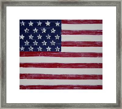 Distressed American Flag Framed Print
