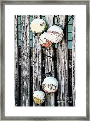 Distressed Buoys On Fencing Key West - Digital Framed Print