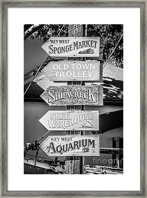 Distressed Key West Sign Post - Black And White Framed Print by Ian Monk