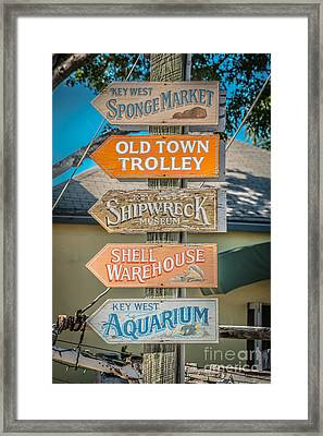 Distressed Key West Sign Post - Hdr Style Framed Print by Ian Monk