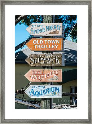 Distressed Key West Sign Post Framed Print by Ian Monk