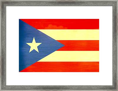 Distressed Puerto Rico Flag Framed Print