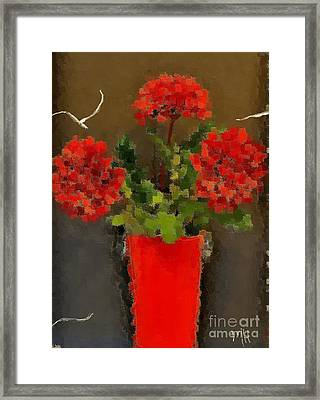 Distressed Red Flowers Pictures Framed Print by Marsha Heiken