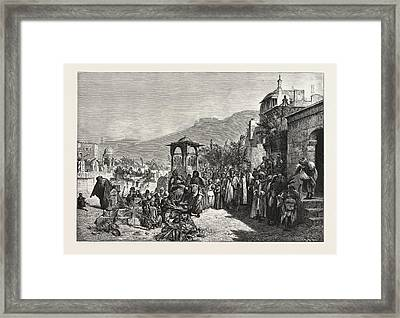 Distribution Of Dates In A Cemetery At Cairoegypt Framed Print