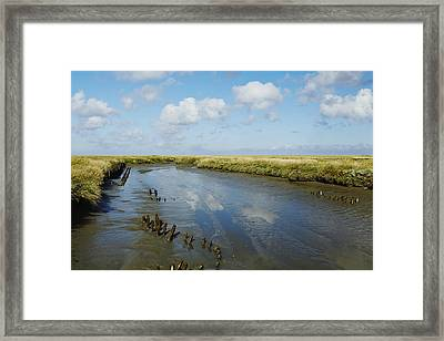 Ditch At The Foreshore Near Westerhever Framed Print by Olaf Schulz
