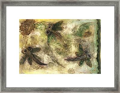 Rustic Dragonflies Autumn Framed Print