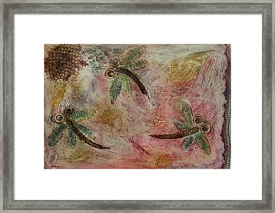 Rustic Dragonflies Pinks Framed Print