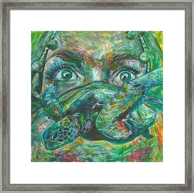 Dive Into Your Fear Framed Print by Elizabeth D'Angelo