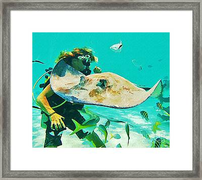 Diver And Stingray Framed Print by John Malone