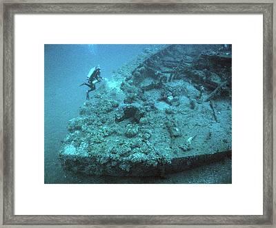 Diver At Uss Monitor Shipwreck Framed Print