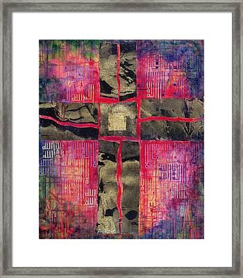 Divided Cross, 2000 Acrylic & Gold Leaf On Canvas Framed Print