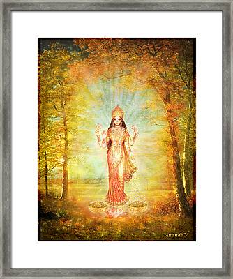 Lakshmi Vision In The Forest  Framed Print by Ananda Vdovic