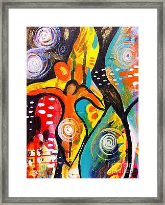 Divine Emerging The Goddess The Guide And The Angel Framed Print