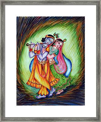 Framed Print featuring the painting Divine Lovers by Harsh Malik
