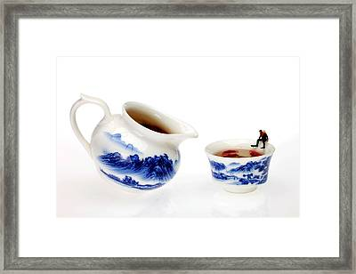 Diving Among Blue-and-white China Miniature Art Framed Print by Paul Ge
