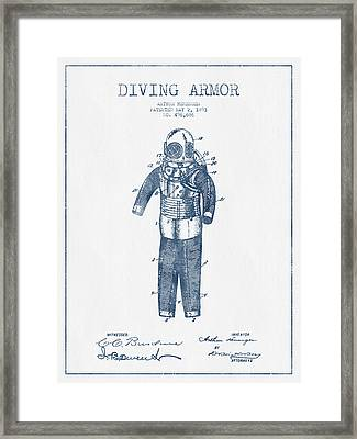 Diving Armor Patent Drawing From 1893  -  Blue Ink Framed Print
