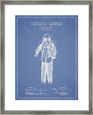 Diving Armor Patent Drawing From 1893 - Light Blue Framed Print