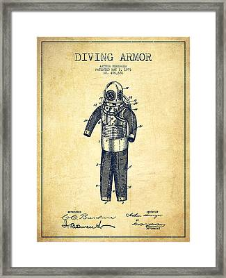 Diving Armor Patent Drawing From 1893 - Vintage Framed Print