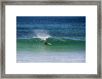 Diving Beneath The Curl Framed Print by Mike Dawson